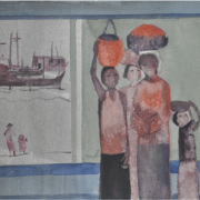7-Coming and Going, 1981 RM 2,750.00-SOLD | Watercolour on paper | 34 x 53 cm
