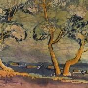 Leng Long Looi River Landscape with Boats Batik on rice paper 20 x 45cm
