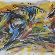 1-Challenging Horses Series 3, 2003 RM 2,200.00-SOLD | Mixed media on paper | 25 x 32 cm