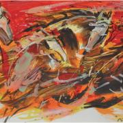 2-Challenging Horses Series 5, 2003 RM 2,750.00-SOLD | Mixed media on paper | 25 x 32 cm
