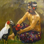 Man and Roosters, 1995 RM 8,250.00-SOLD   Oil on canvas   77 x 75 cm