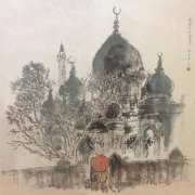 2-RM 60,480.00-SOLD Lim Tze Peng Sultan Mosque on Muscat Street, Singapore, 1970's Oil on canvas 70 x70 cm
