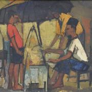 1-Satay Seller, 1963 RM 10,450.00-SOLD | Oil on canvas | 35.5 x 59 cm
