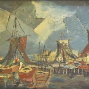 5-Fishing Boats Under a Cubistic Sky, 1961 RM 9,350.00-SOLD | Oil on board | 49 x 79 cm
