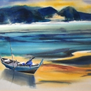Long Thien Shih Watercolour on paper 43.5 x 68 cm