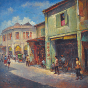 "3-RM 12,100.00-SOLD LOT 17 Lui Cheng Thak ""Street Scene"" (2011) Oil on canvas 90 x 90 cm RM 7,000 - RM 12,000"