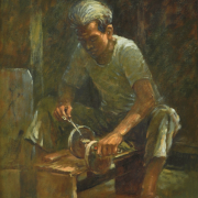 53-Lui-Cheng-Thak,-1967,-Scissor-Sharpening,-2007,-Oil-on-canvas,-50-x-40-cm