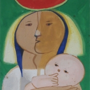 1-Mother and Child, 2000 RM 6,600.00-SOLD | Gouche on paper | 35.5 x 11 cm