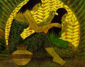 12-Chuah Thean Teng. Combing Hair, 1990's. Batik. 72cm x 72cm
