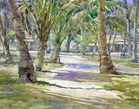 15-Ismail Mat Husin, Pokok Kelapa di Tepi Pantai, 2008. 71cm x 87cm. Watercolour on Paper