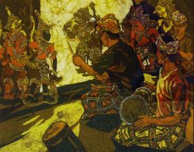 16-Ismail Mat Hussin. Wayang Kulit, 2006. Batik. 81cm x 76cm