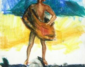 36-Peter Harris. Native Man, 1960. Pastel on Paper. 27.5cm x 36.5cm