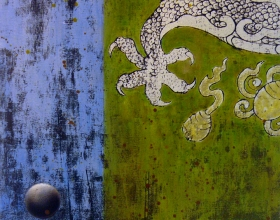 39-Raduan Man (II) Dragon Ball Series, 2006. Woodprint & Oil on Canvas. 61cm x 61cm