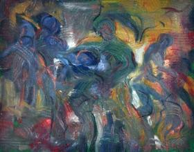 44-Shafurdin Habib. Study Movement II, 2004. Oil on Canvas. 20.5cm x 25.5cm