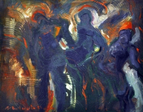 45-Shafurdin Habib. Study Movement III, 2004. Oil on Canvas. 20.5cm x 25.5cm