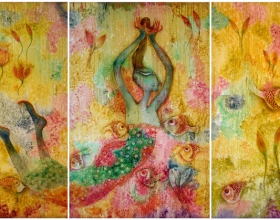 49-Syed Thajudeen. Lightness of Being, 1999. Oil on Canvas. 138cm x 276cm (3panels)