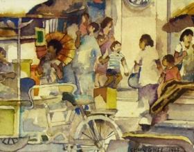 52-Tan Choon Ghee. Street Hawker Scene, 1985. Watercolour on Paper. 50 x 20cm