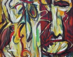 53-Yusof Ghani. Topeng Kenari IV, 1996. 61cm x 76.5cm. Oil on Canvas