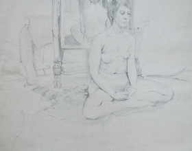 8-Chuah Siew Teng. Nude, 1968. Charcoal on Paper. 50cm x 37.5cm