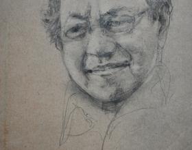 11-Chuah Siew Teng. Tun Mahathir, 2004. Charcoal on Paper 26.5cm x 20.5cm