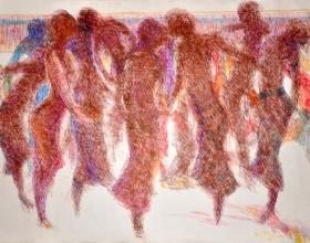 17-Khalil Ibrahim. East Coast Line Sketch, 2001. 59cm x 42cm. Ink on Paper