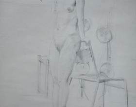9-Chuah Siew Teng. Nude, 1968. Reverse Side - Charcoal on Paper 50cm x 37.5cm