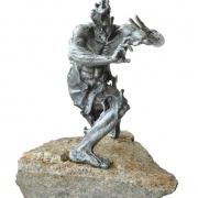 Sapu Sendi, 2008 RM 14,850.00-SOLD | Metal on natural stone | 40 cm x 40 cm x 40 cm