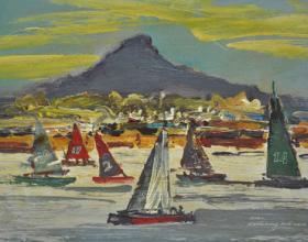 "1 ""Santubong Boat Race"" Oil on Board 22.5cm x 30.5cm"