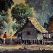 M. Zain, Malay Hut 1965 Oil on canvas 38.5 x 58.5 cm