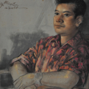 6-RM 18,700.00-SOLD Lot 98 Mohd Hoessein Enas, Dato' (b. Indonesia, 1924 - 1995) Portrait of Bashir, 1966 Pastel on paper I 51 x 42.5 cm RM 8,000 - 14,000
