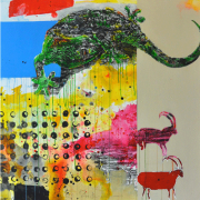 3-Dancing with Nature Series, 2006 RM 9,900.00-SOLD | Wood paint and acrylic on canvas | 122 x 122 cm