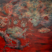 4-Tasik Chini, 2004 RM 27,500.00-SOLD | Wood paint and acrylic on canvas | 148 x 180 cm
