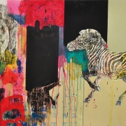 6-Natures Playground - Zebra, 2006 RM 20,350.00-SOLD | Woodcut print and mixed media on canvas | 166 x 270 cm