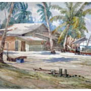 2-Fishing Village in Kota Bharu, 2011 RM 896.00-SOLD | Watercolour on paper | 38 x 55.5 cm