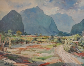 12-Khalil Ibrahim, Enroute to Ipoh (1988) Watercolour on Paper 76cm x 56cm