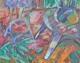 33-Lot 83 Rafiee Ghani, Blue Chair and blue table, 1995, 137 x 130cm, Oil on Canvas