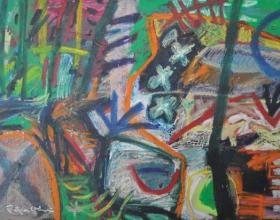 34-Rafiee Ghani (b. Kedah, 1962) Water Below, 1998 Mixed media on canvas I 71 x 100 cm RM 4,500 - 6,500