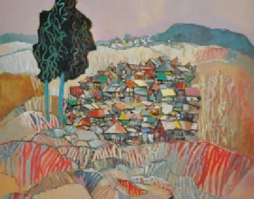 44-Raphael Scott AhBeng, Home Sweet Home. 1991 SOLD Oil on Canvas 127 cm x 97 cm SOLD