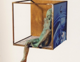 "45-Rocio Villatoro ""agua"" bronze, iron and digital image 22cm x 22cm x 17cm"