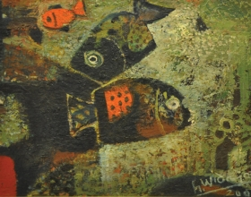 5-Haji Widayat - Ikan (2002) Oil On Canvas Laid on Board 30cm x 40cm