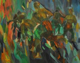 50-Lot 78 Shafurdin Habib, Silat, 1990, Acrylic on canvas 68 x 97 cm