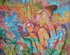 53-Syed Thajudeen (b.  India, 1943) Meeting of the Eyes, 2011   Oil on canvas I 92 x 92 cm RM 26,000 - 35,000