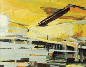 54-Wong Perng Fey (B. Kuala Lumpur, 1974)  New Village VII, 2007  Signed and dated by the artist on reverse side  Oil on canvas 61 x 61cm  RM 4,500 - RM 6,000