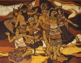 8-Ismail Mat Hussin, Sarawakian Native (1983) Batik 94cm x 105cm
