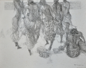 11-Khalil Ibrahim, The Spirit of the East Coast and Sanur (2002) 44cm x 56cm Ink on Paper