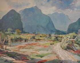 12-Khalil Ibrahim, Enroute to Ipoh (1988) Watercolour on Paper 76cm x 56cm