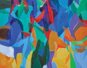 13-Khalil Ibrahim , Pembicaraan VIII (2008) Acrylic on Board, 38cm x 45cm