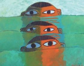 15-Khoo Sui Hoe, Big Eyes (1966-1999) Oil on Canvas 50.8cm x 61cm
