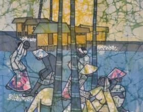 16-Kwan Chin, Playing (1970's) 48cm x 65cm Batik