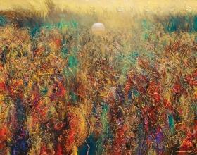 7-Ismail Latiff, Lembah Bayangan Rembulan...Mahligai kayangan (1997) Oil on Canvas 138cm x 178cm